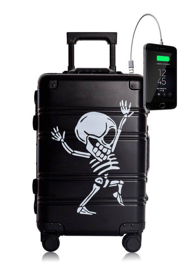 Valigia da cabina in alluminio divertimento online per giovani urbani con caricatore usb TOKYOTO LUGGAGE Black Skull