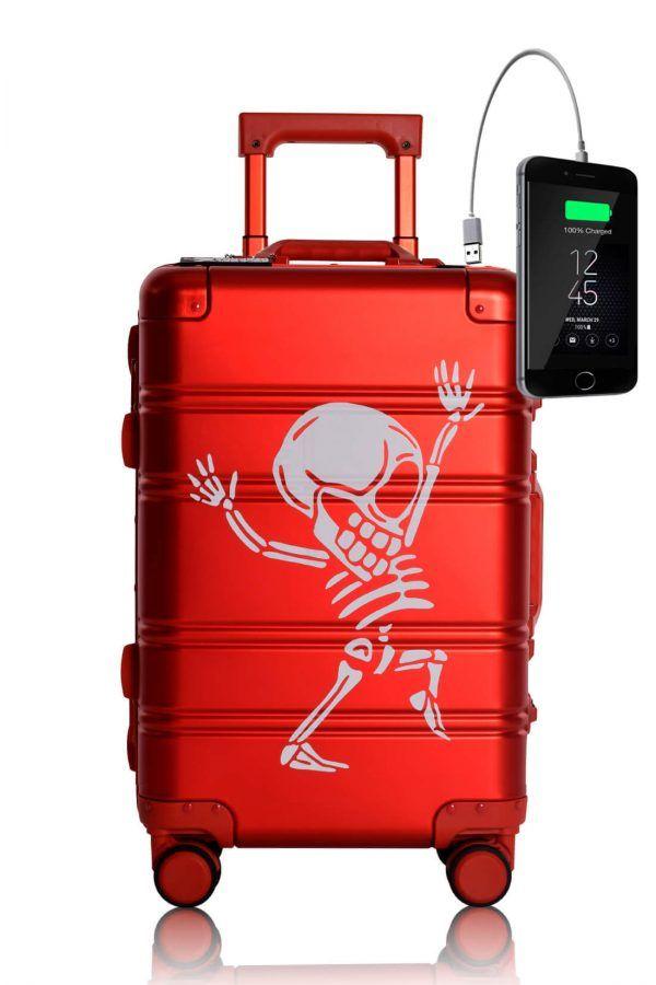 Valigia da cabina in alluminio divertimento online per giovani urbani con caricatore usb TOKYOTO LUGGAGE Red skull