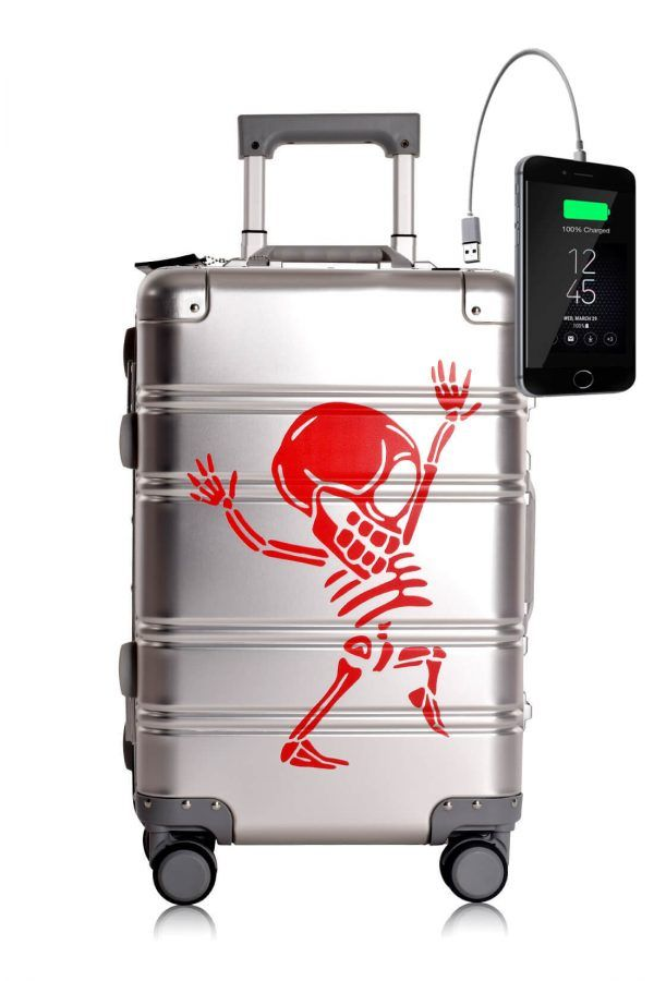Valigia da cabina in alluminio divertimento online per giovani urbani con caricatore usb TOKYOTO LUGGAGE Silver Skull