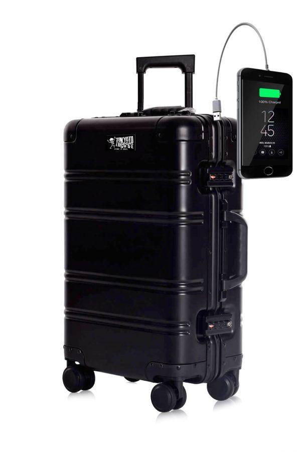 Valigia da cabina in alluminio divertimento online per giovani urbani con caricatore usb TOKYOTO LUGGAGE Black Logo 2
