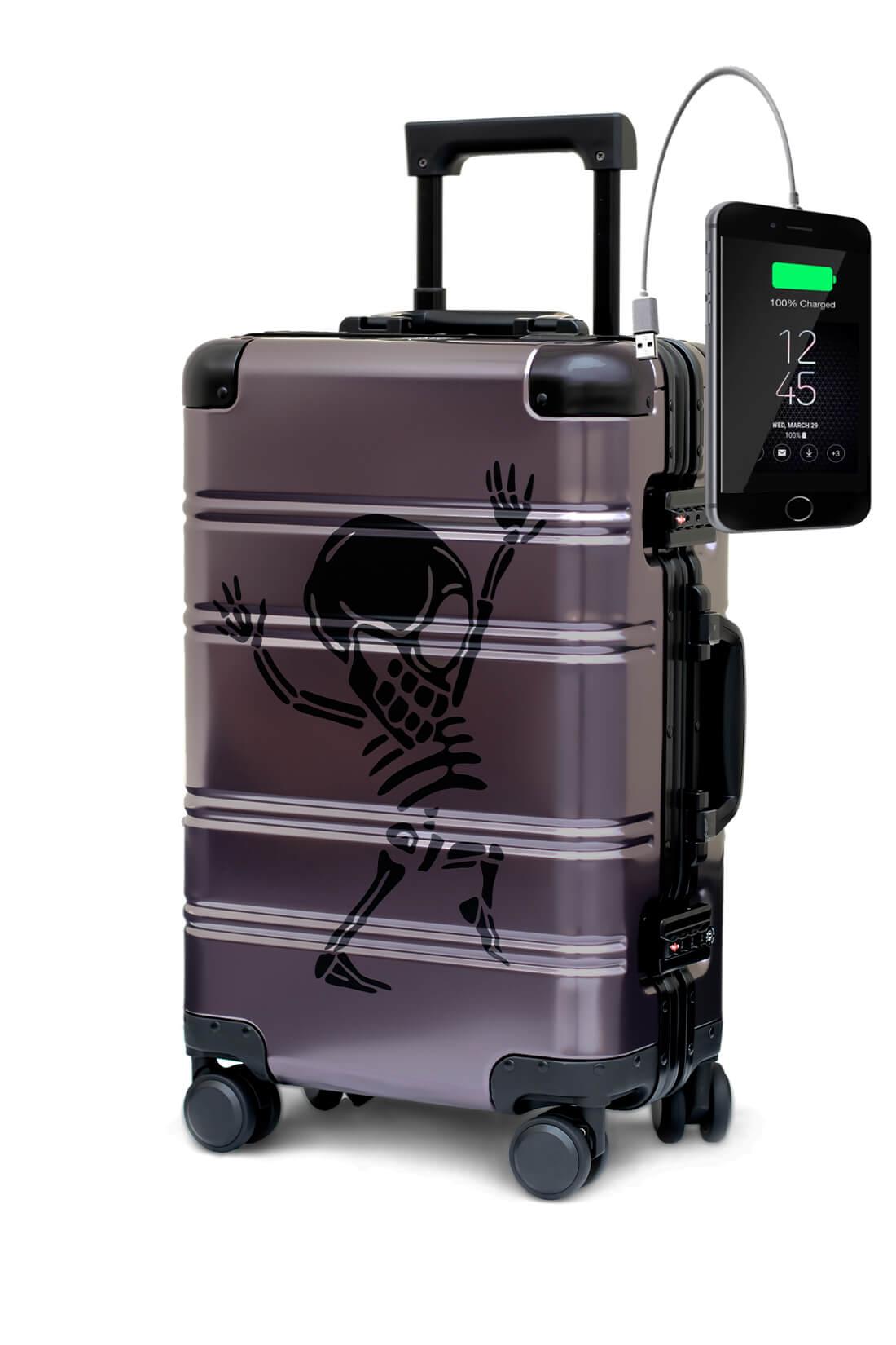 Valigia da cabina in alluminio divertimento online per giovani urbani con caricatore usb TOKYOTO LUGGAGE Money Heist 1