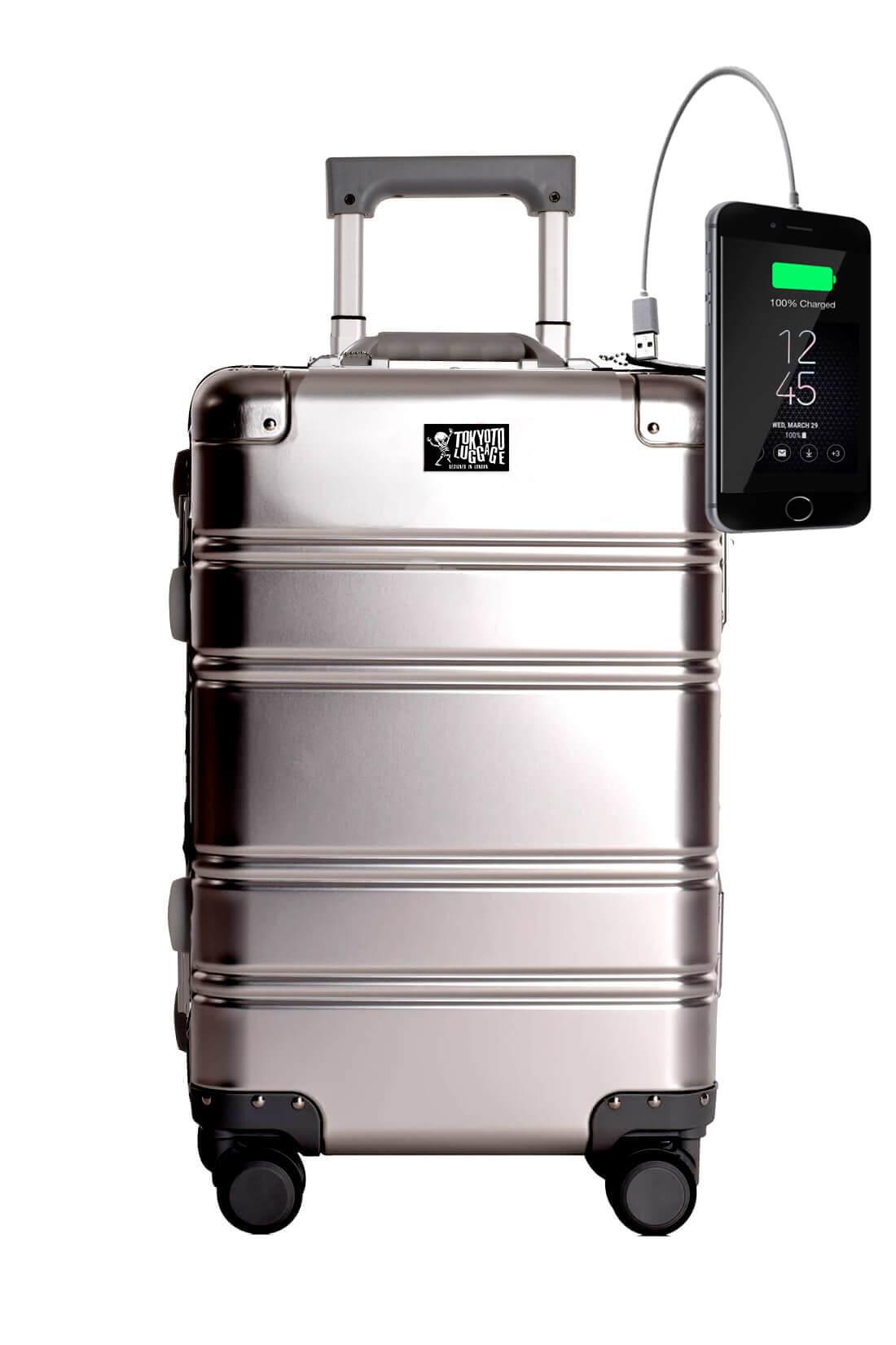 Valigia da cabina in alluminio divertimento online per giovani urbani con caricatore usb TOKYOTO LUGGAGE Silver Logo 1