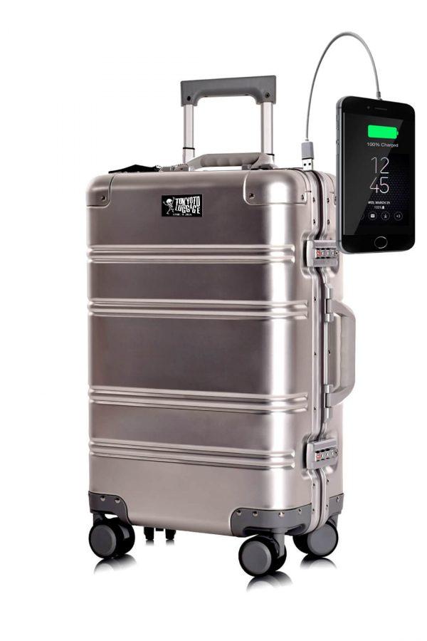Valigia da cabina in alluminio divertimento online per giovani urbani con caricatore usb TOKYOTO LUGGAGE Silver Logo 2