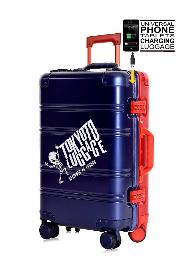 Valigie In Alluminio Premium Trolley da Cabina TOKYOTO LUGGAGE model BLUE RED LOGO 1