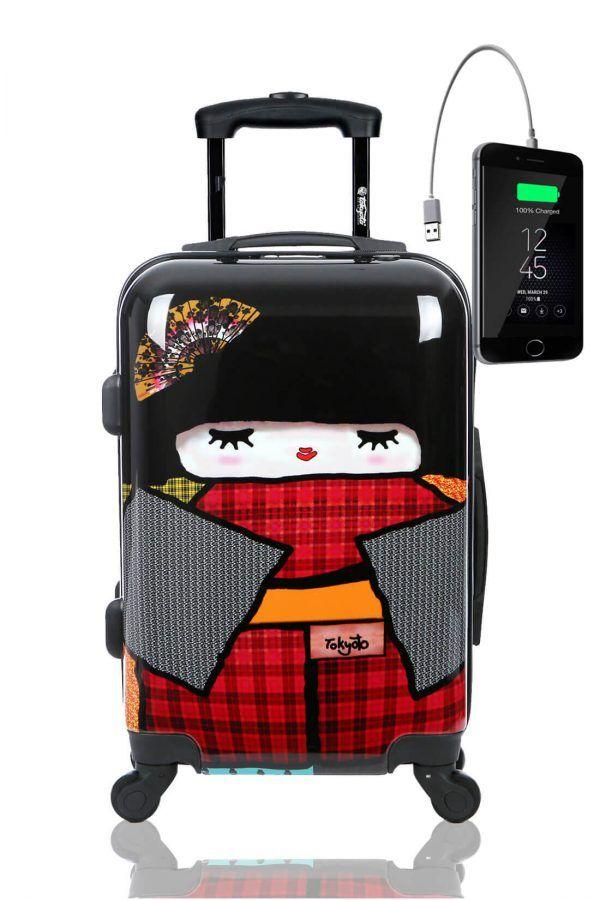 JAPAN DOLL Trolley Valigia Cabina Bagaglio Bambini Juvenile Caricatore Powerbank