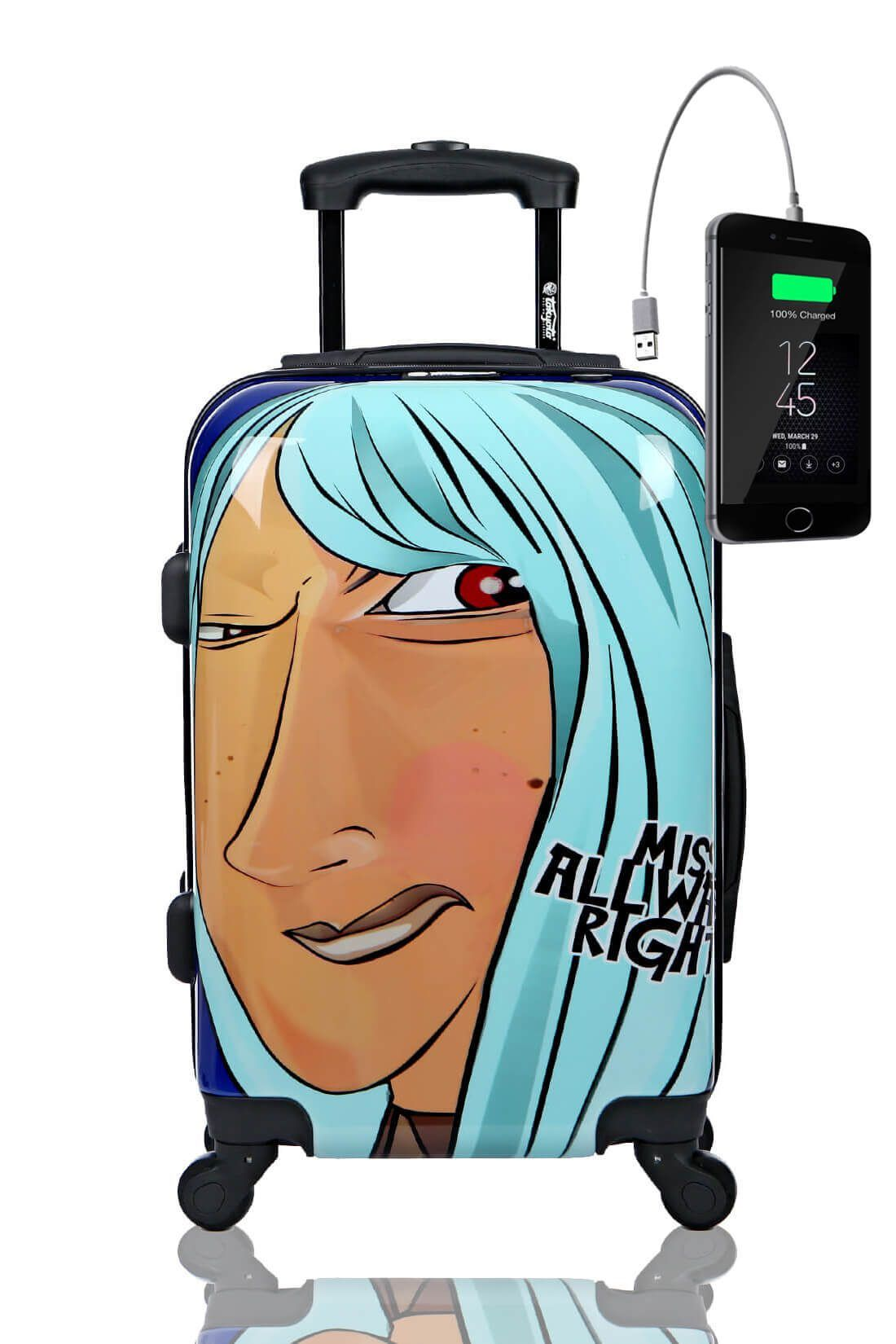 MISS ALWAYS RIGHT Trolley Valigia Cabina Bagaglio Bambini Juvenile Caricatore Powerbank