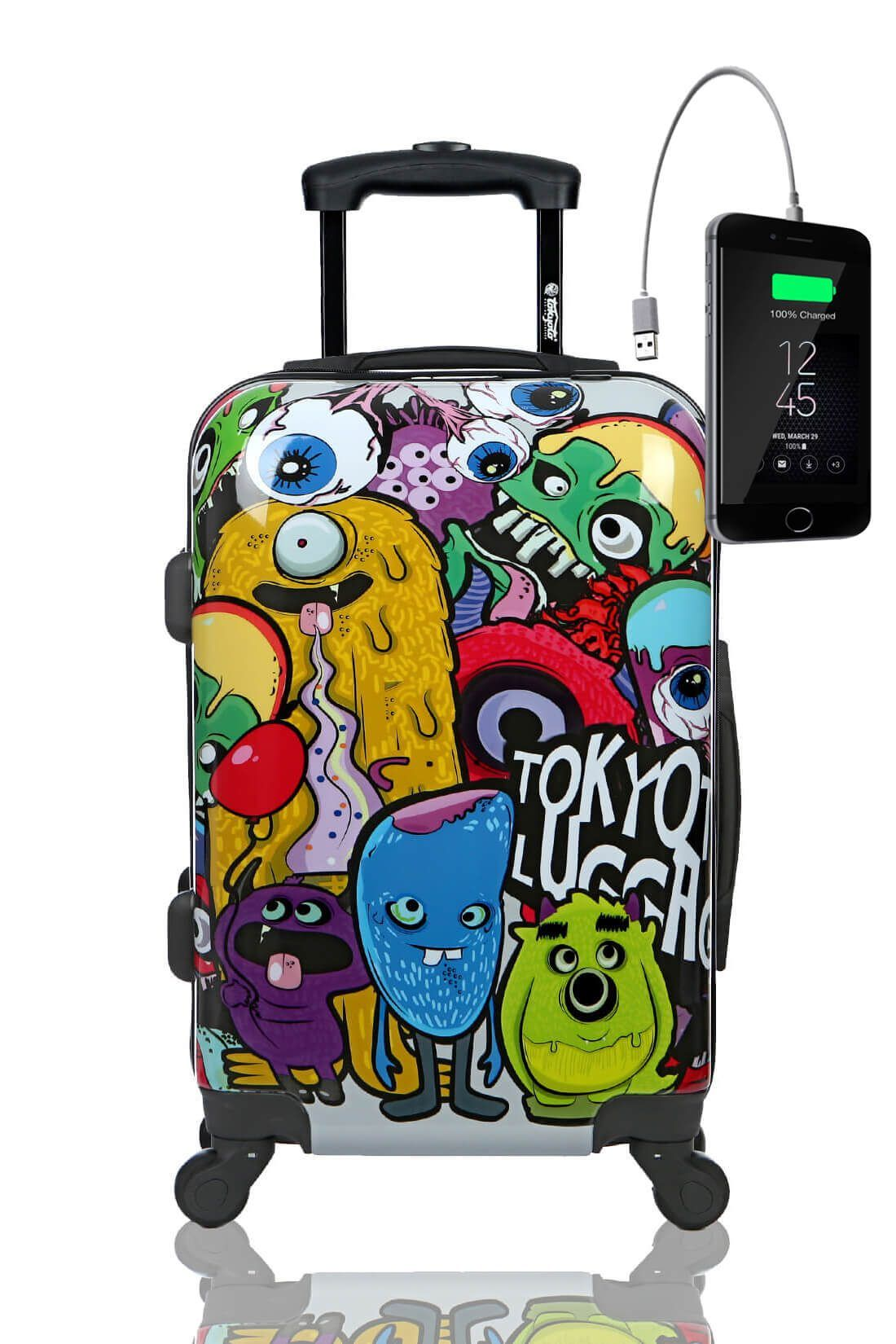 MONSTERS and ZOMBIES Trolley Valigia Cabina Bagaglio Bambini Juvenile Caricatore Powerbank
