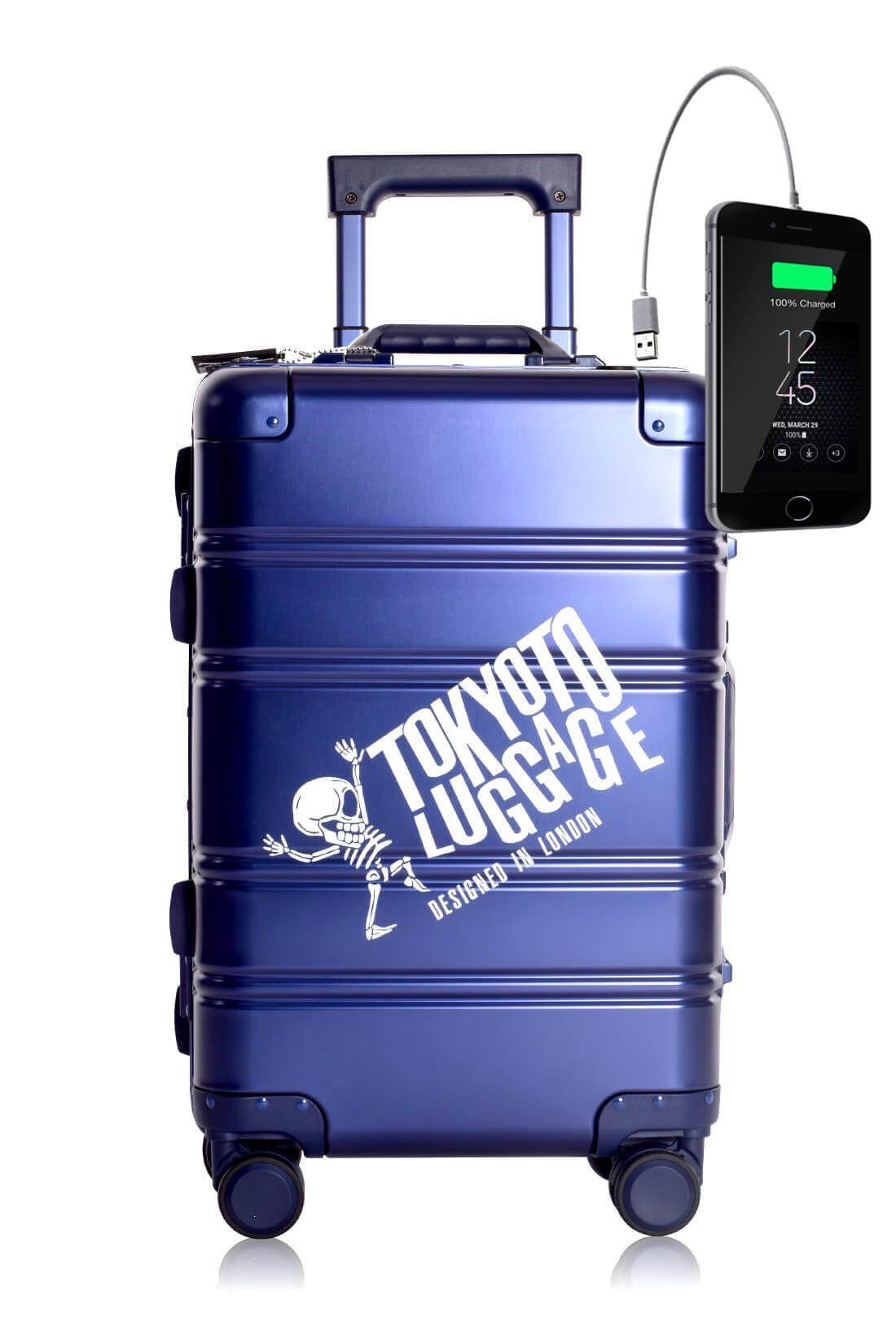 Valigia Alluminio Trolley da cabina divertimento online per giovani urbani con caricatore usb TOKYOTO LUGGAGE BLUE LOGO