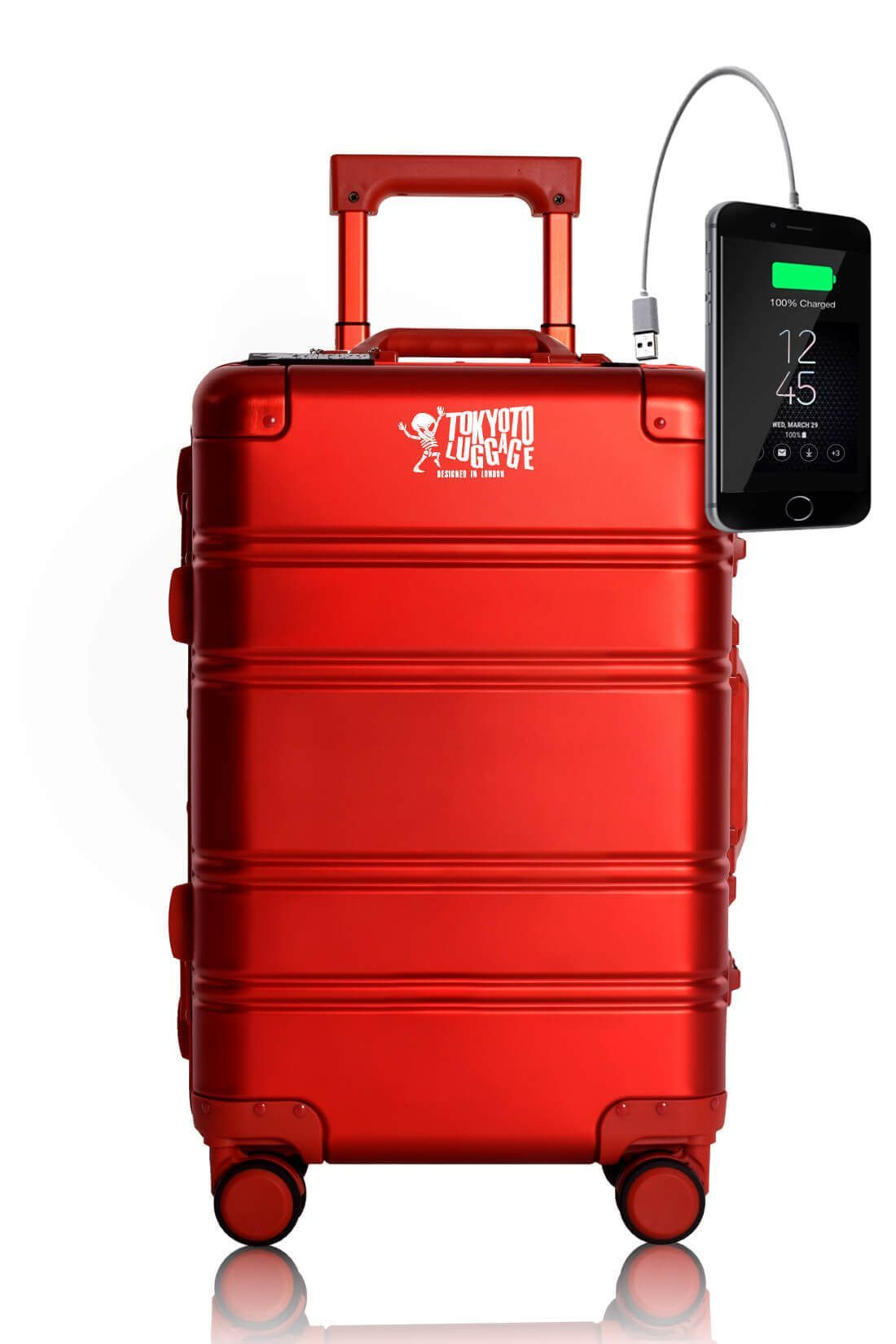 Valigia Alluminio Trolley da cabina divertimento online per giovani urbani con caricatore usb TOKYOTO LUGGAGE RED LOGO