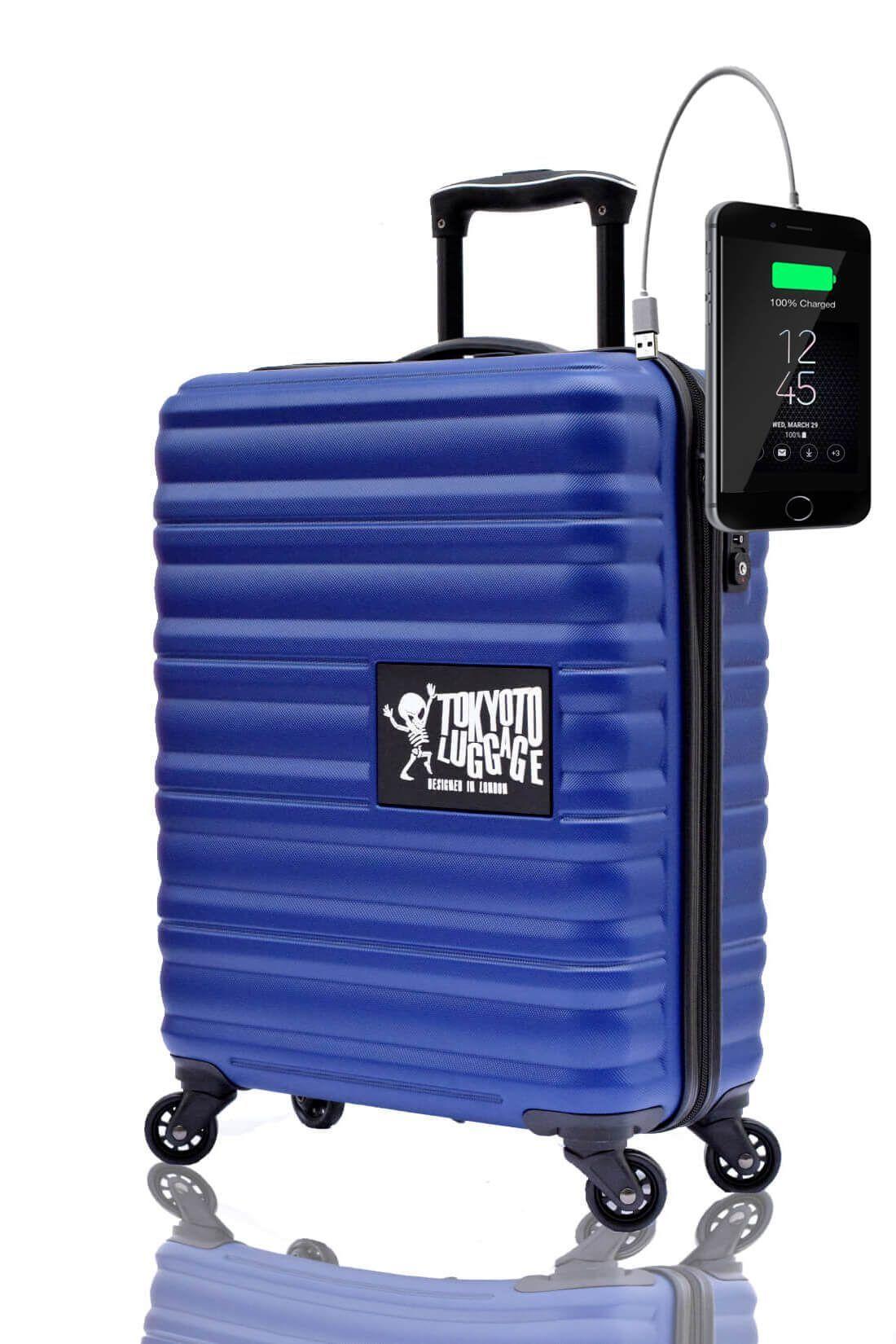 Valigia Trolley da cabina divertimento online per giovani urbani con caricatore usb TOKYOTO LUGGAGE Blue Marine