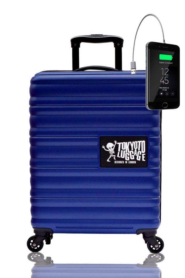 Valigia Trolley da cabina divertimento online per giovani urbani con caricatore usb TOKYOTO LUGGAGE Blue Marine 2