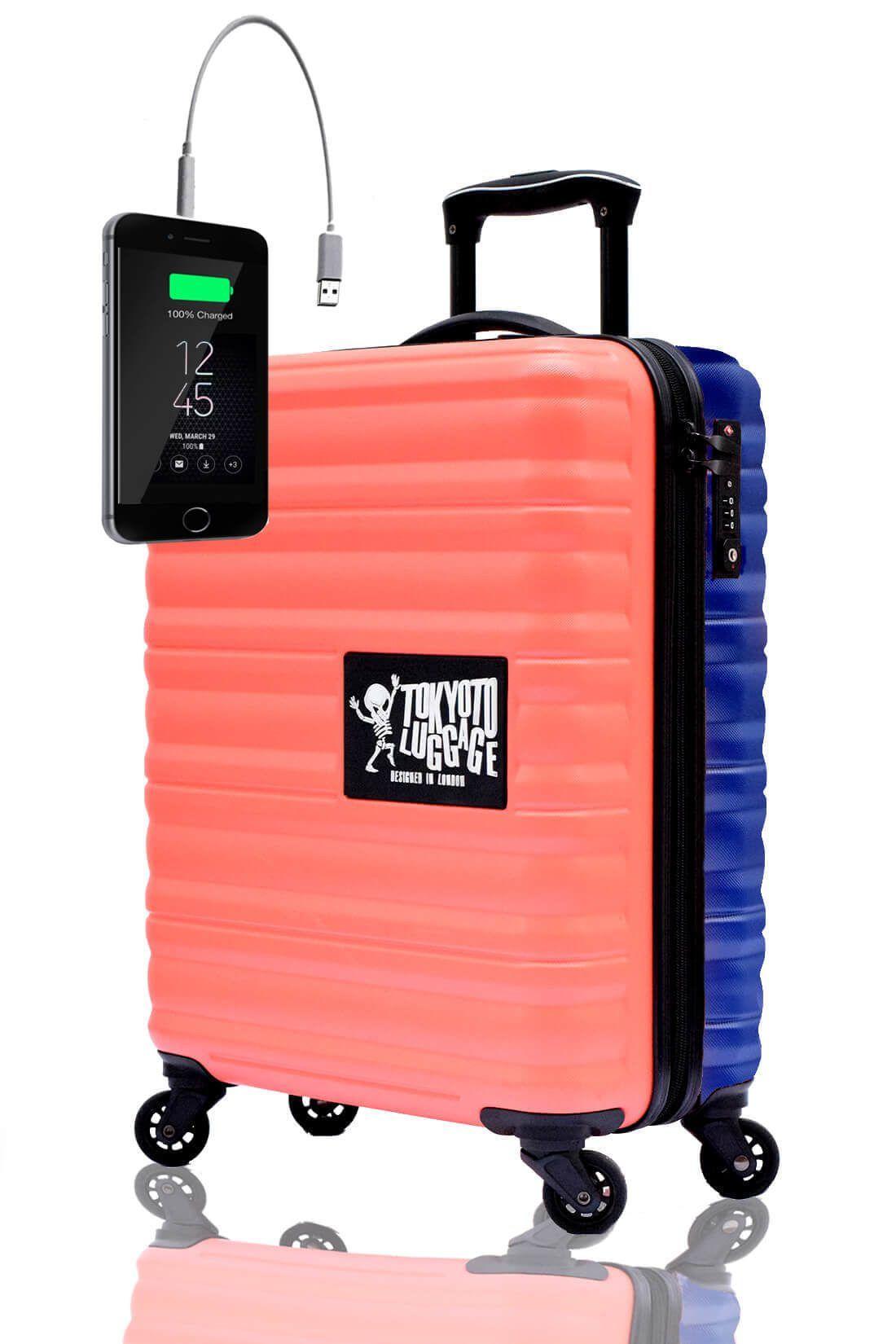 Valigia Trolley da cabina divertimento online per giovani urbani con caricatore usb TOKYOTO LUGGAGE Coral Blue 2