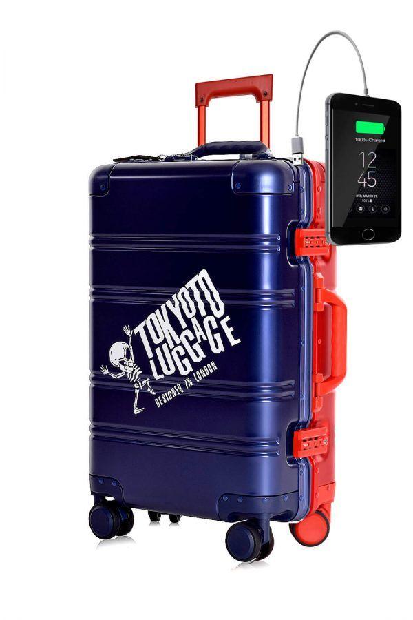 Valigia da cabina in alluminio divertimento online per giovani urbani con caricatore usb TOKYOTO LUGGAGE Blue Red Logo