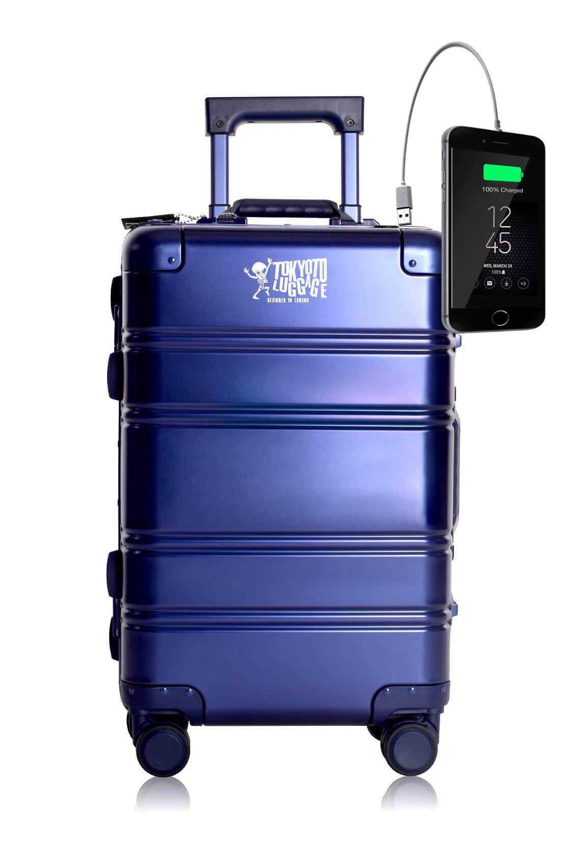 Valigia da cabina in alluminio divertimento online per giovani urbani con caricatore usb TOKYOTO LUGGAGE Blue Small Logo
