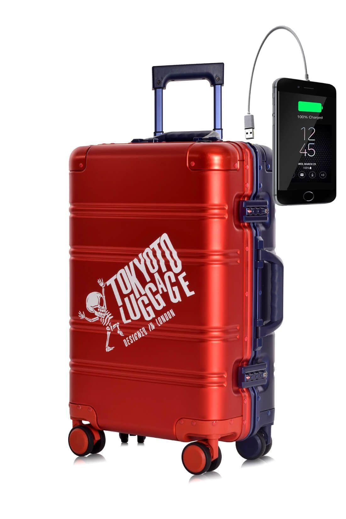 Valigia da cabina in alluminio divertimento online per giovani urbani con caricatore usb TOKYOTO LUGGAGE Red Blue Logo