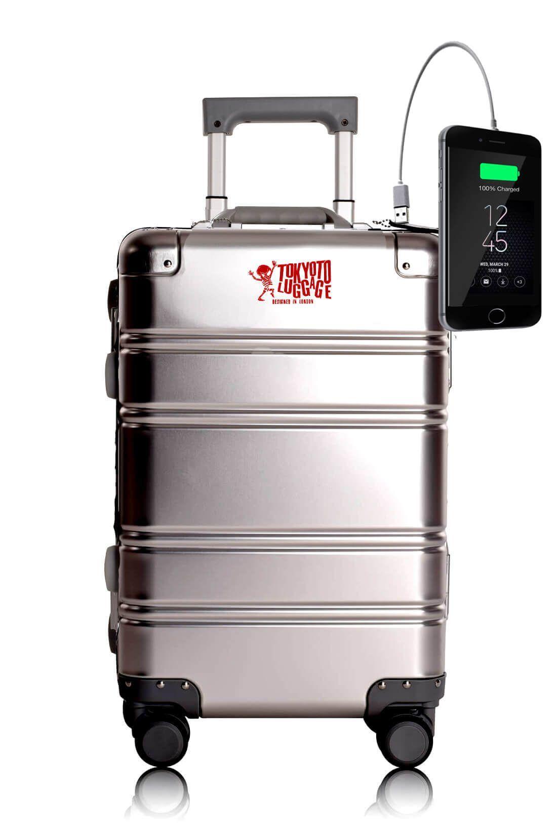 Valigia da cabina in alluminio divertimento online per giovani urbani con caricatore usb TOKYOTO LUGGAGE Silver Logo